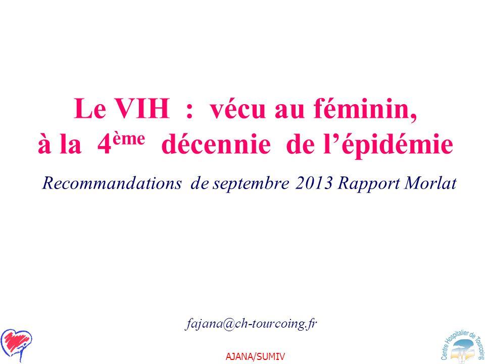 Le VIH : vécu au féminin, à la 4ème décennie de l'épidémie Recommandations de septembre 2013 Rapport Morlat