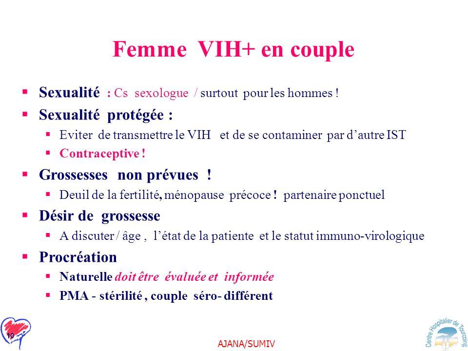 Femme VIH+ en couple Sexualité : Cs sexologue / surtout pour les hommes ! Sexualité protégée :