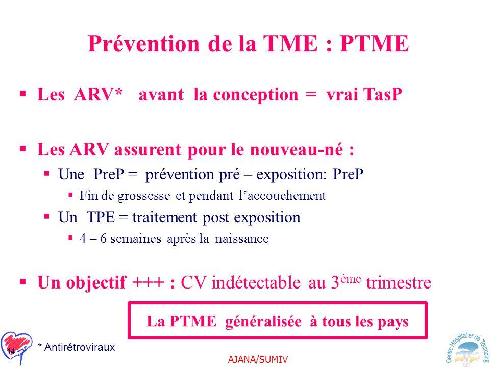 Prévention de la TME : PTME La PTME généralisée à tous les pays