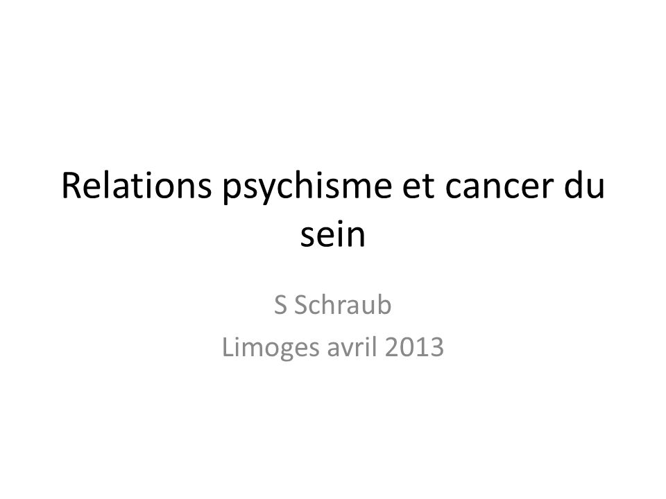 Relations psychisme et cancer du sein