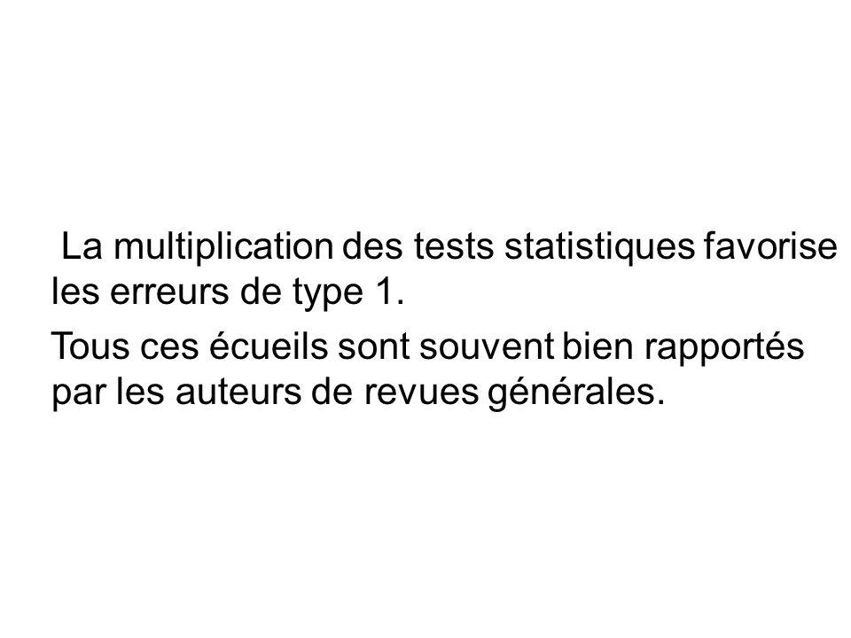 La multiplication des tests statistiques favorise les erreurs de type 1.