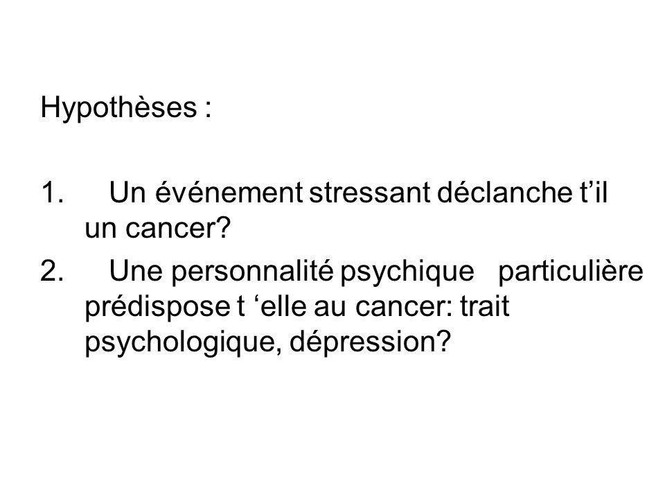 Hypothèses : Un événement stressant déclanche t'il un cancer