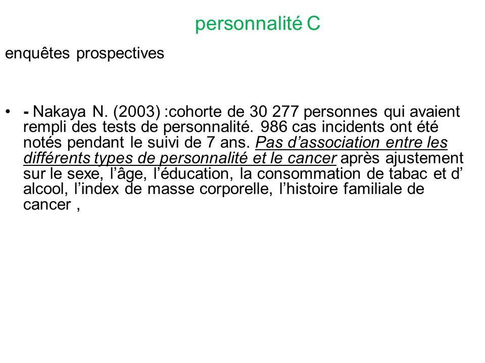 personnalité C enquêtes prospectives