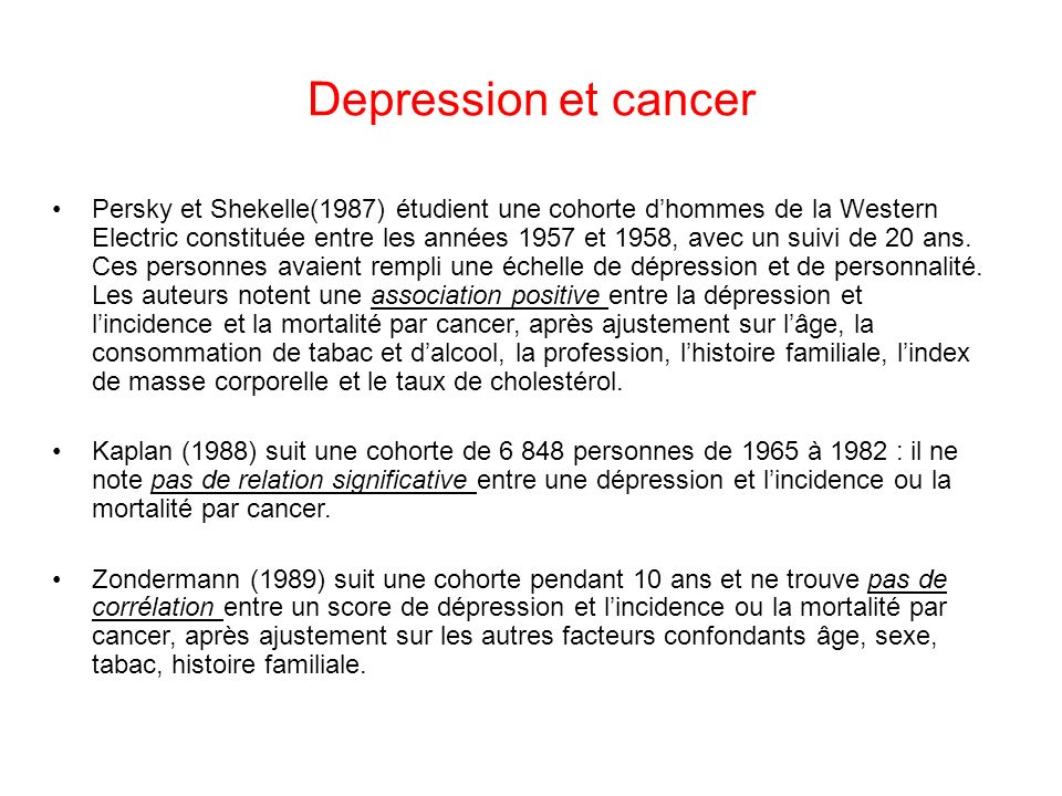 Depression et cancer