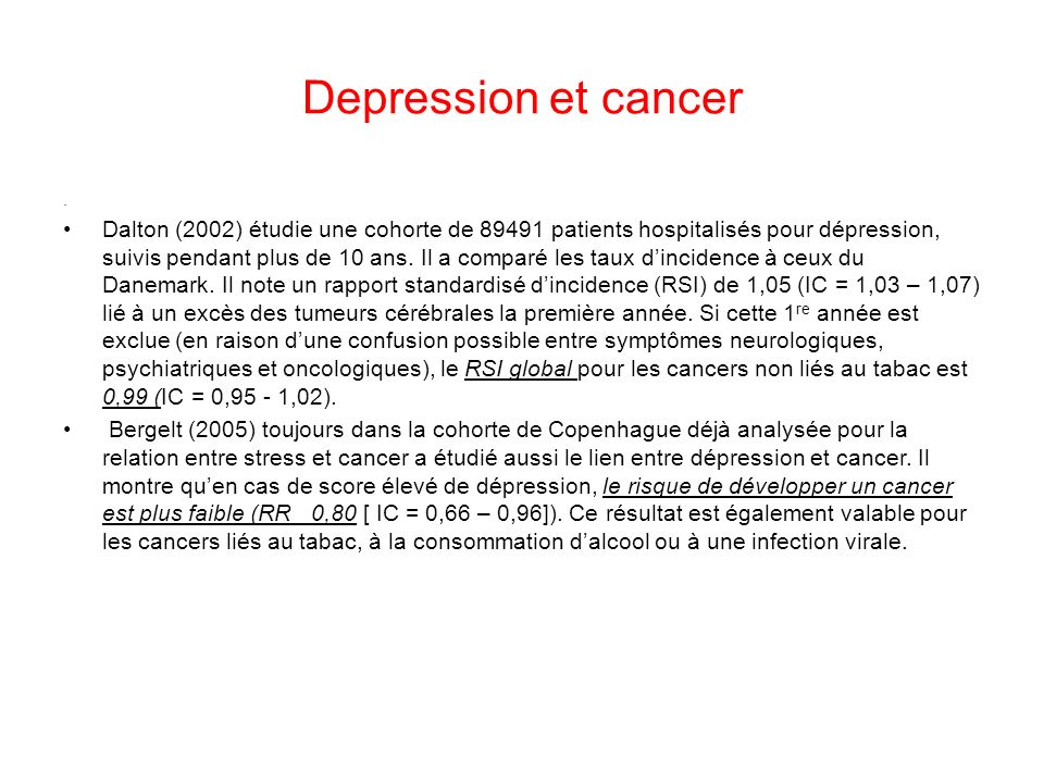 Depression et cancer .
