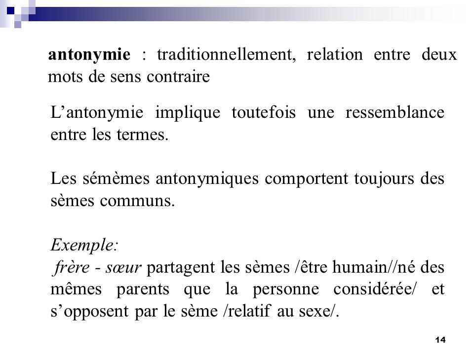 L'antonymie implique toutefois une ressemblance entre les termes.