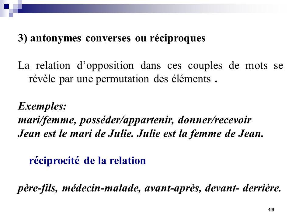 3) antonymes converses ou réciproques
