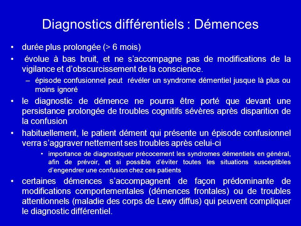 Diagnostics différentiels : Démences