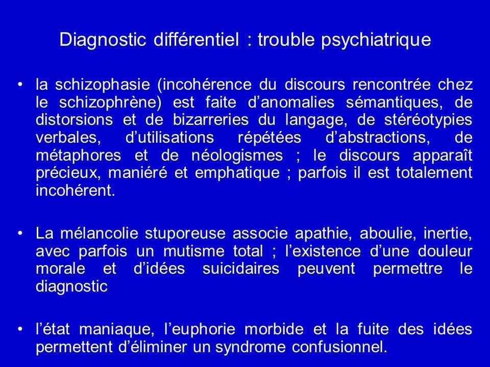 Diagnostic différentiel : trouble psychiatrique