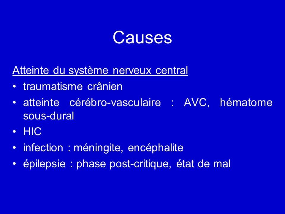 Causes Atteinte du système nerveux central traumatisme crânien