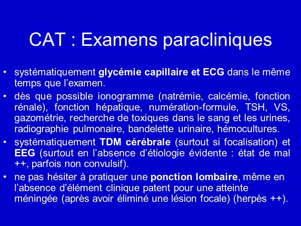 CAT : Examens paracliniques