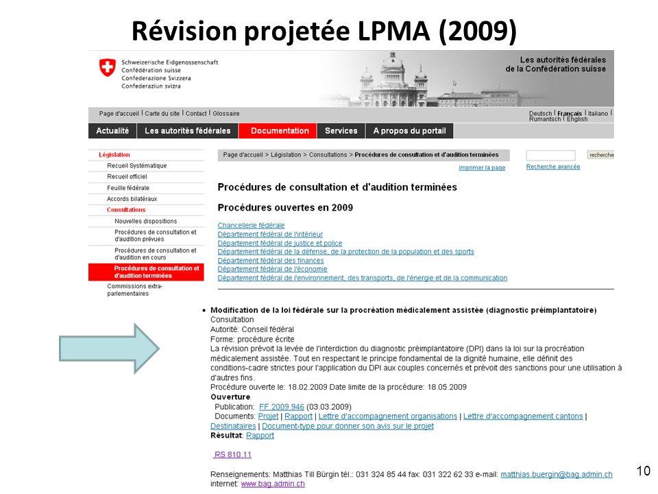 Révision projetée LPMA (2009)