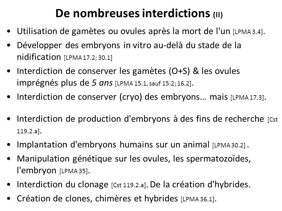 De nombreuses interdictions (II)