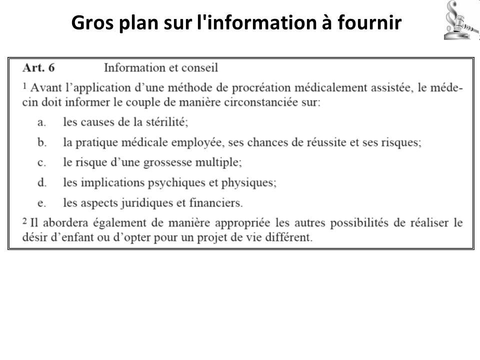 Gros plan sur l information à fournir