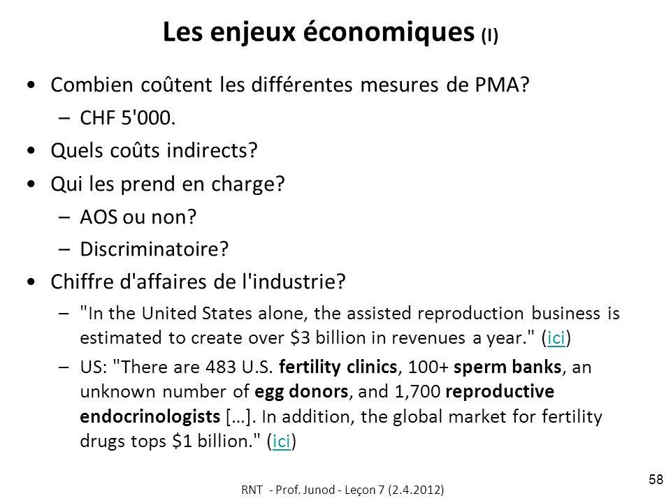 Les enjeux économiques (I)