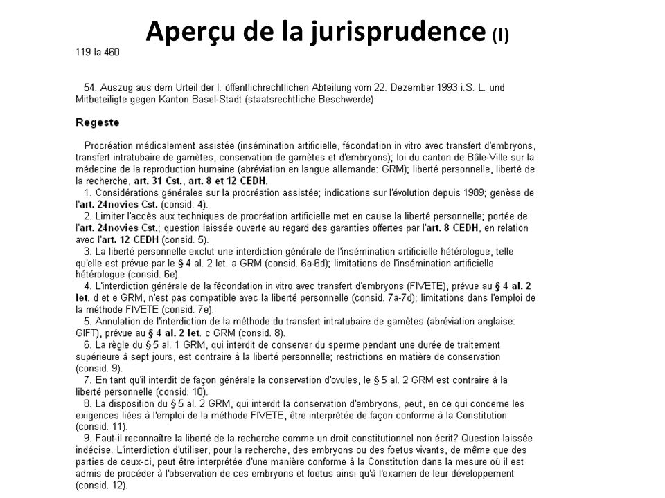 Aperçu de la jurisprudence (I)