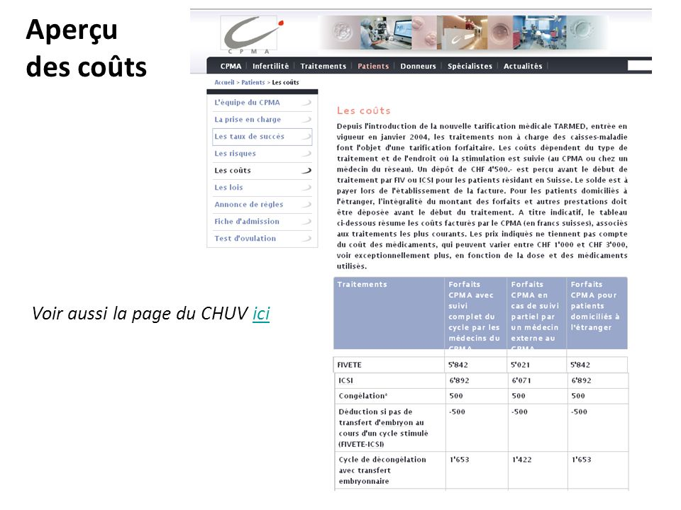 Aperçu des coûts Voir aussi la page du CHUV ici