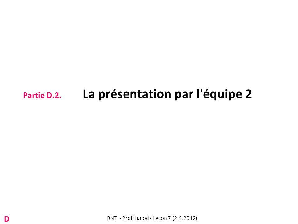 Partie D.2. La présentation par l équipe 2