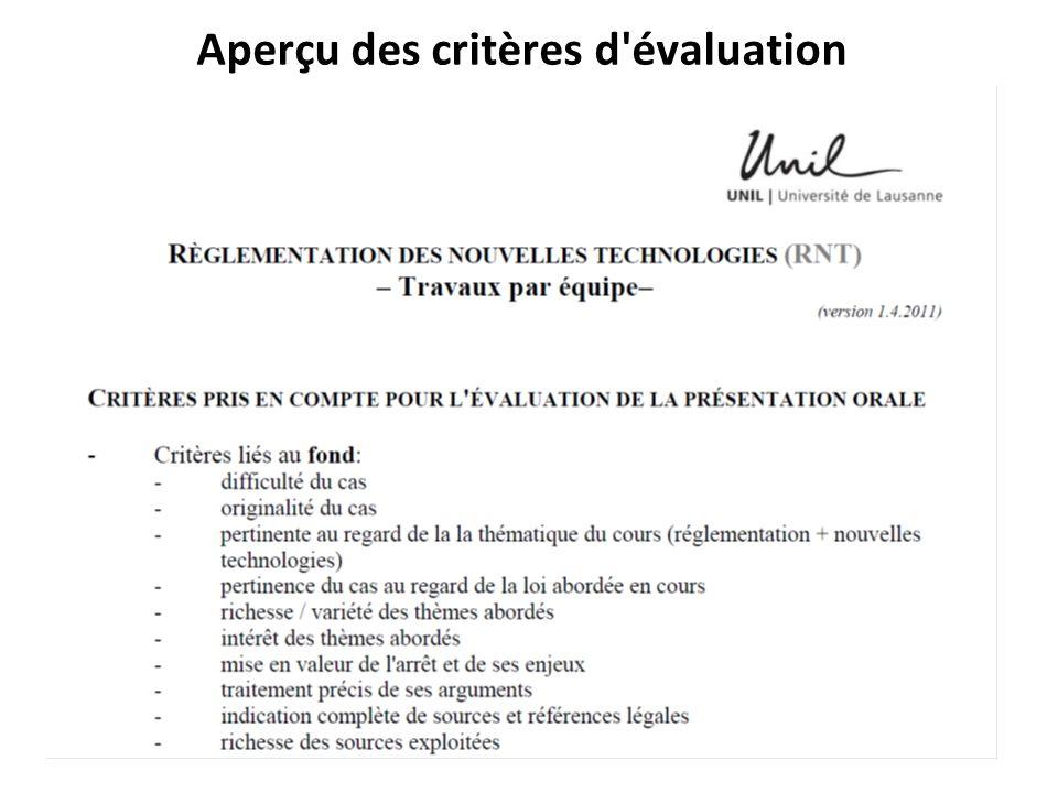 Aperçu des critères d évaluation