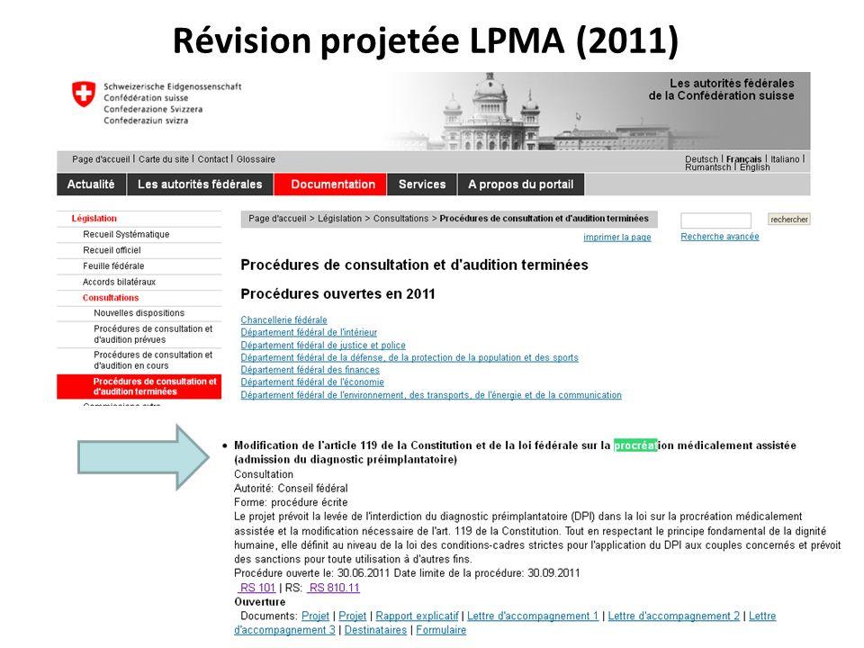 Révision projetée LPMA (2011)