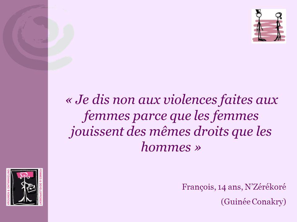 « Je dis non aux violences faites aux femmes parce que les femmes jouissent des mêmes droits que les hommes »