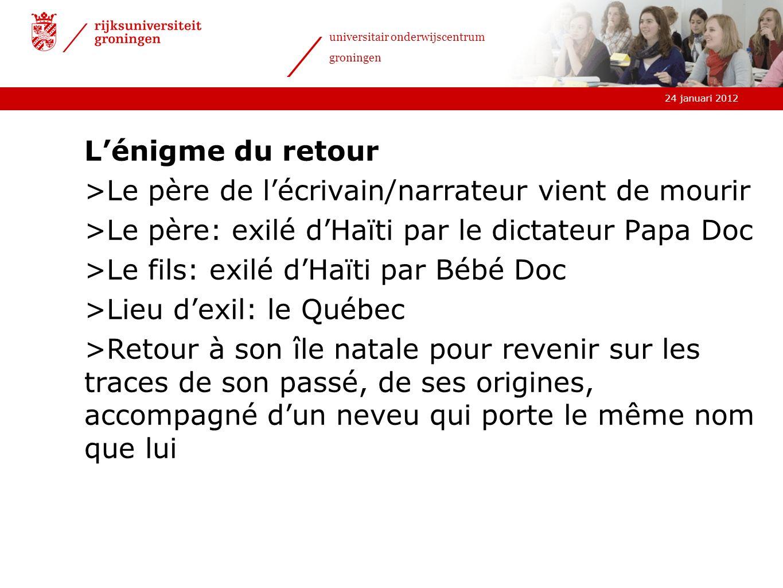 L'énigme du retour Le père de l'écrivain/narrateur vient de mourir. Le père: exilé d'Haïti par le dictateur Papa Doc.