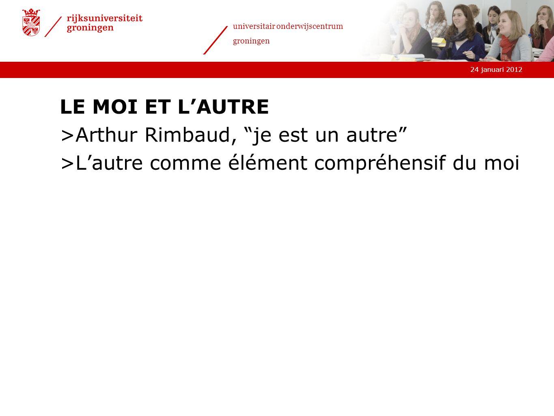 LE MOI ET L'AUTRE Arthur Rimbaud, je est un autre L'autre comme élément compréhensif du moi