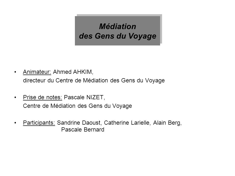 Médiation des Gens du Voyage
