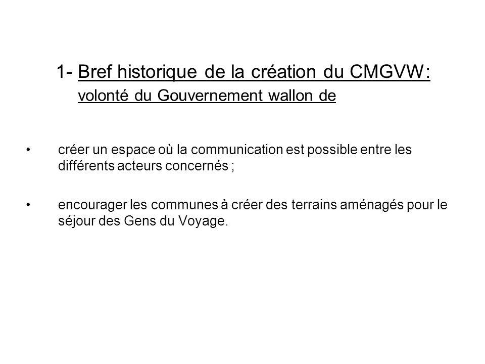 1- Bref historique de la création du CMGVW: