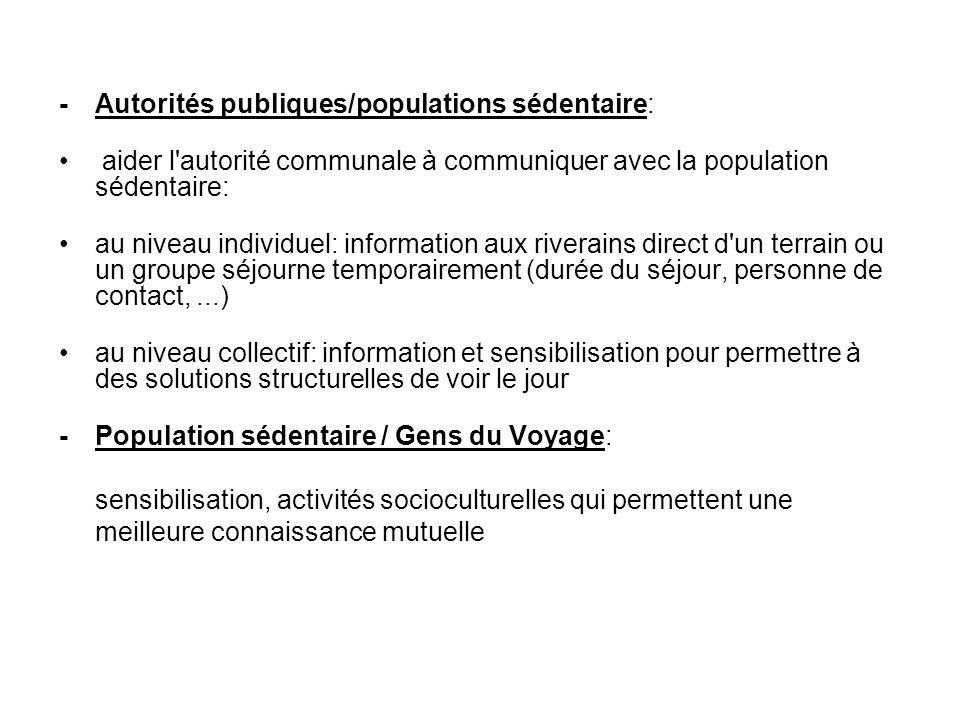 - Autorités publiques/populations sédentaire: