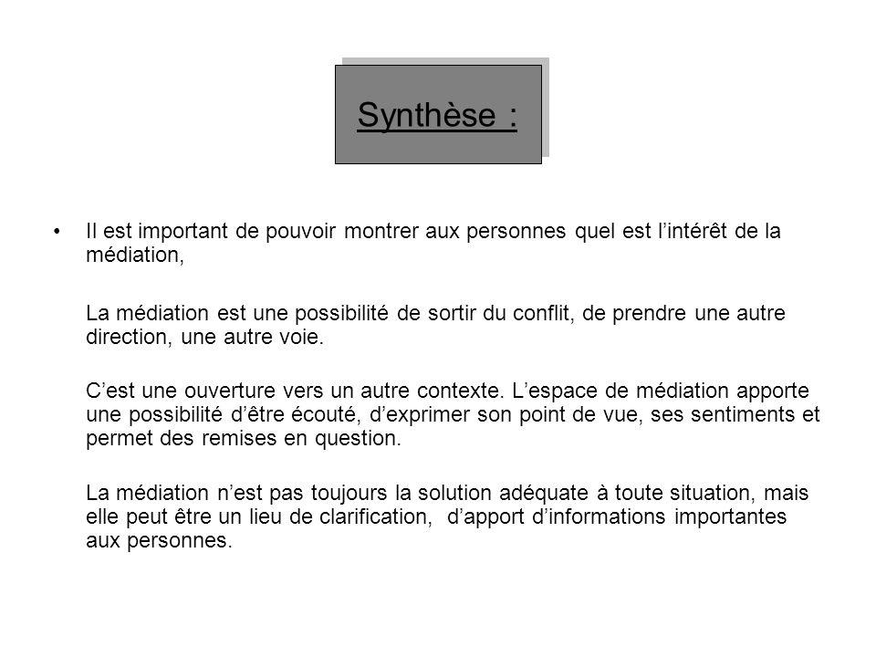 Synthèse : Il est important de pouvoir montrer aux personnes quel est l'intérêt de la médiation,