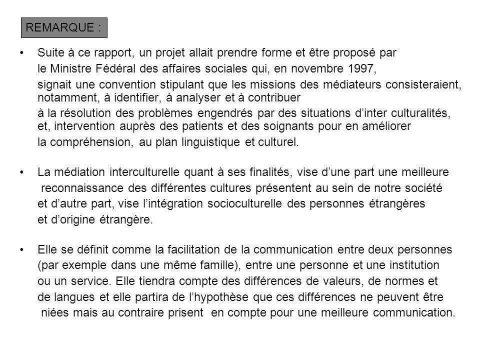 REMARQUE : Suite à ce rapport, un projet allait prendre forme et être proposé par. le Ministre Fédéral des affaires sociales qui, en novembre 1997,