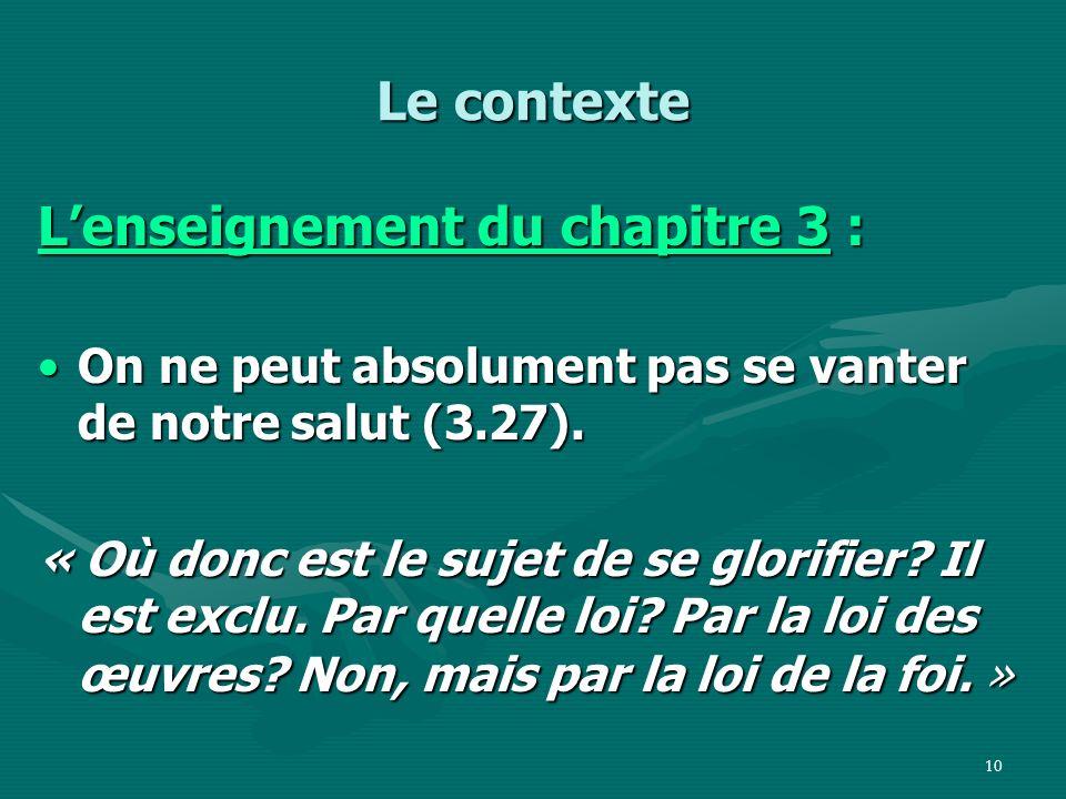 L'enseignement du chapitre 3 :