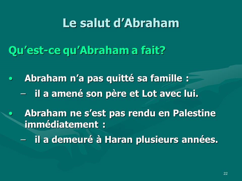 Le salut d'Abraham Qu'est-ce qu'Abraham a fait
