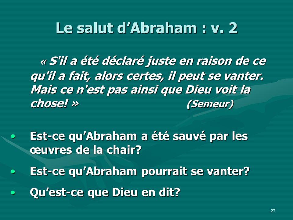 Le salut d'Abraham : v. 2