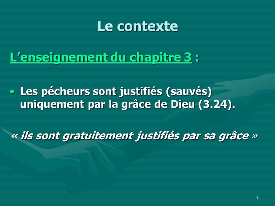 Le contexte L'enseignement du chapitre 3 :