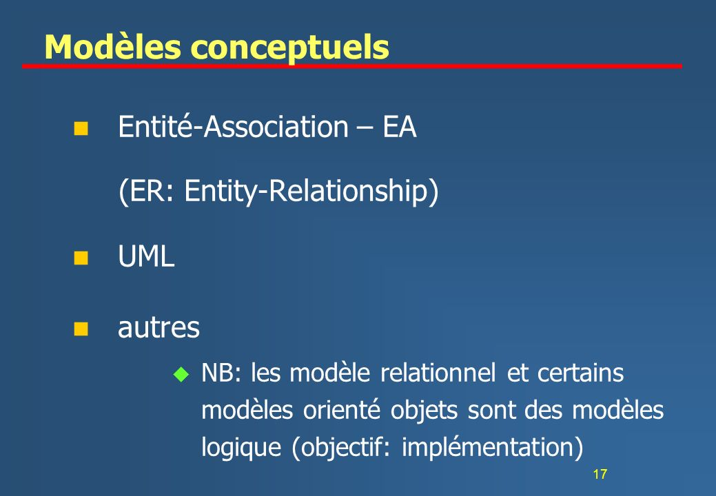 Modèles conceptuels Entité-Association – EA (ER: Entity-Relationship)