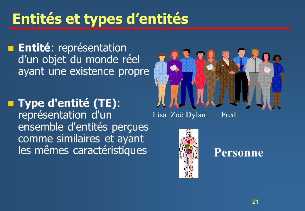 Entités et types d'entités