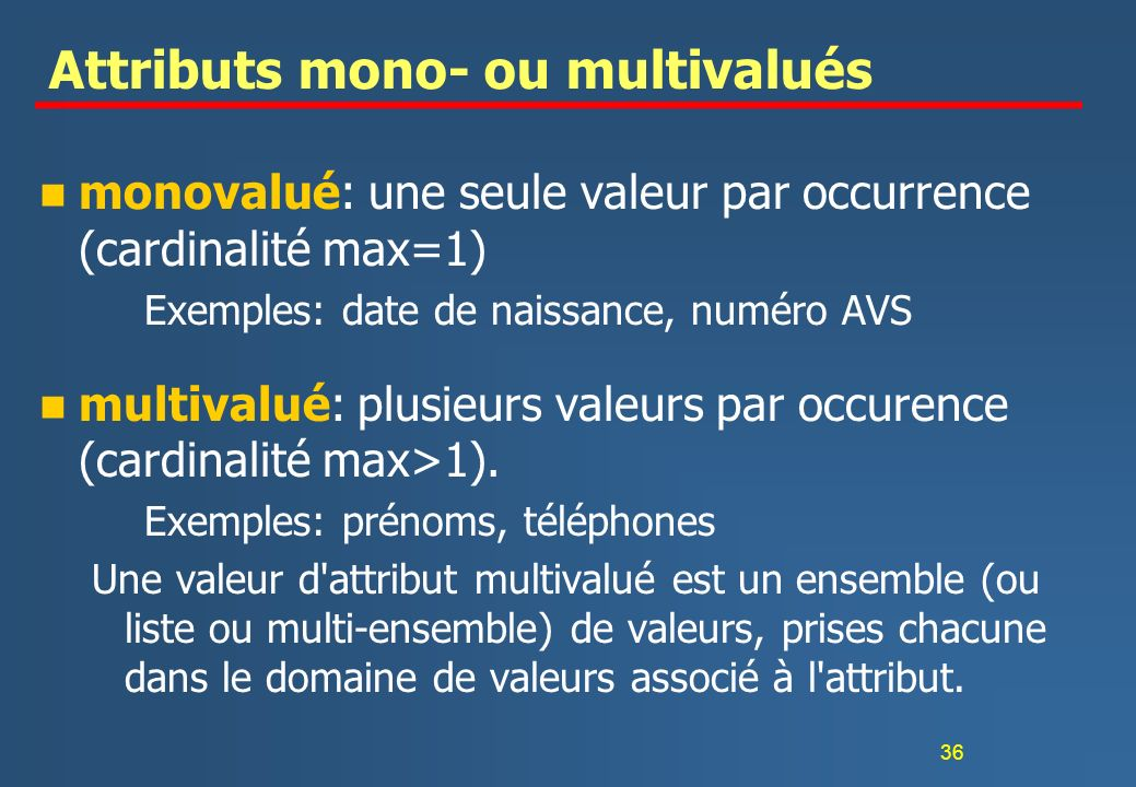 Attributs mono- ou multivalués