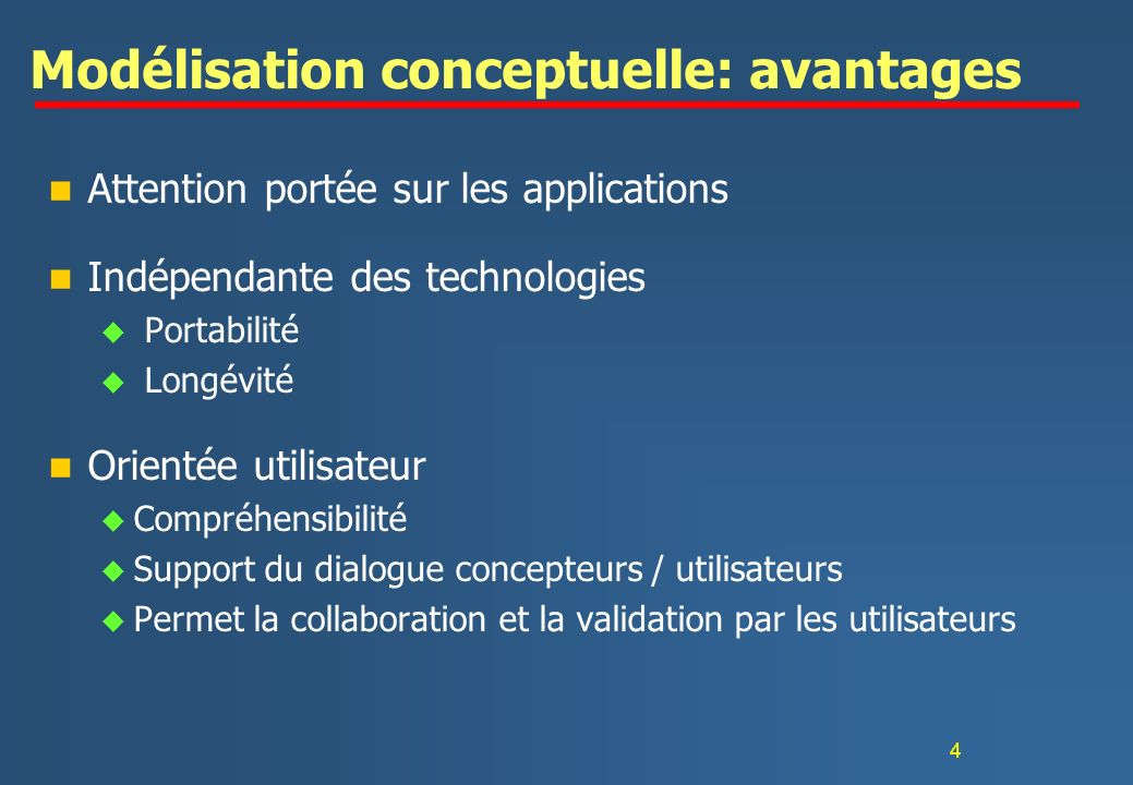 Modélisation conceptuelle: avantages