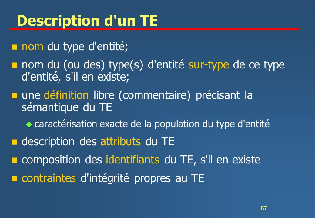 Description d un TE nom du type d entité;