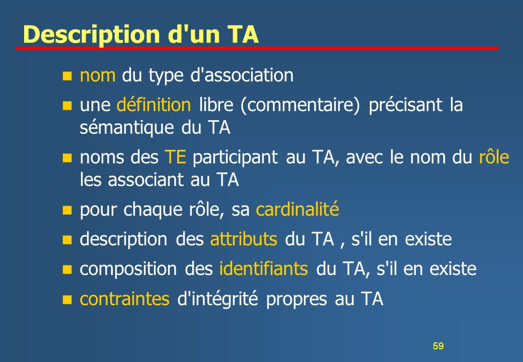 Description d un TA nom du type d association