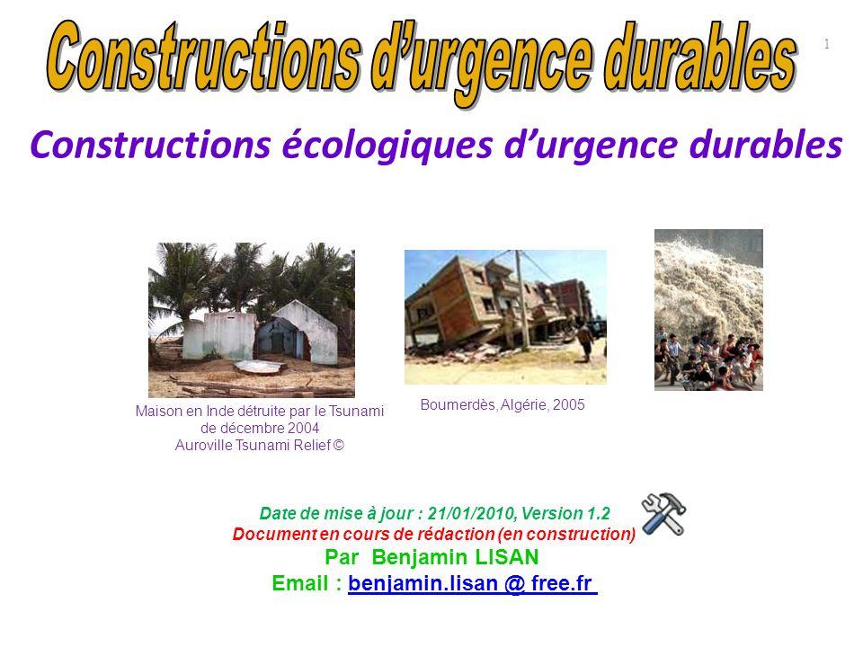 Constructions écologiques d'urgence durables