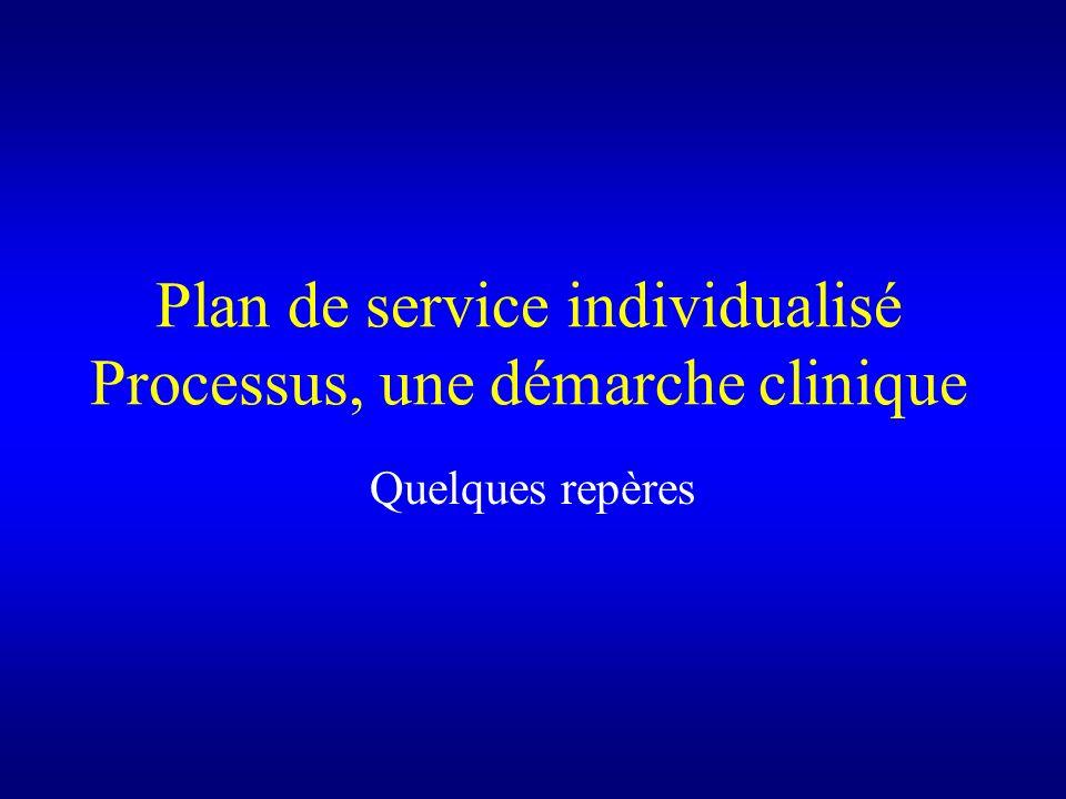 Plan de service individualisé Processus, une démarche clinique