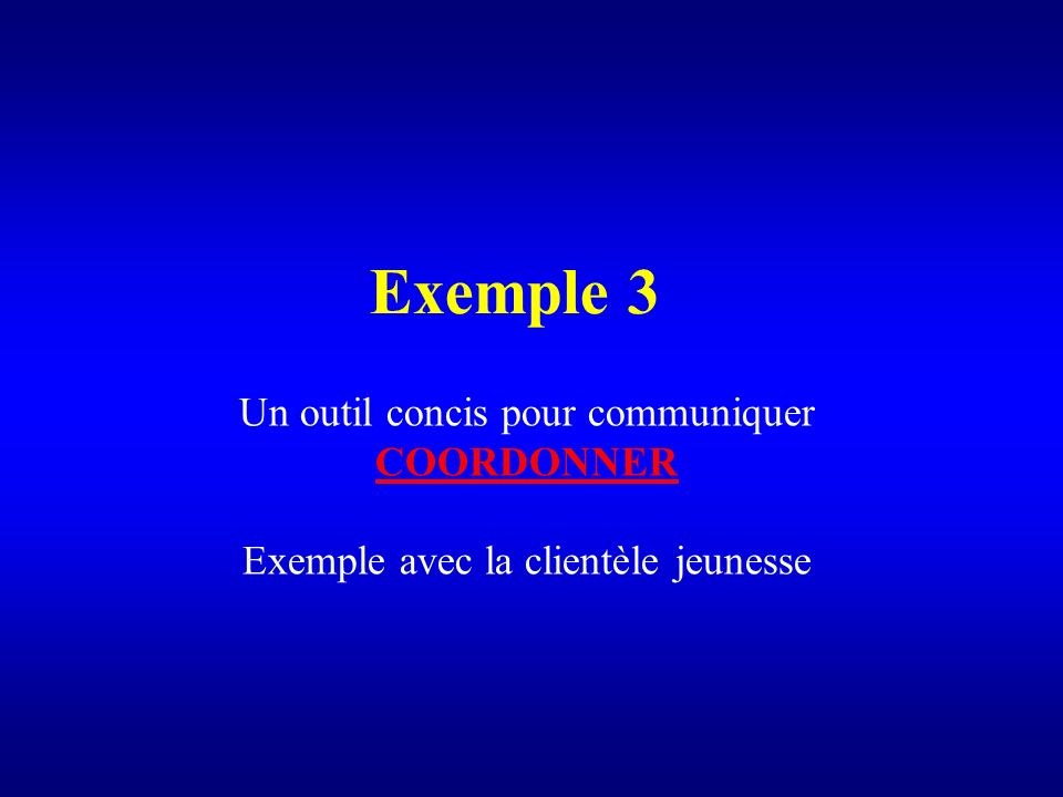 Exemple 3 Un outil concis pour communiquer COORDONNER