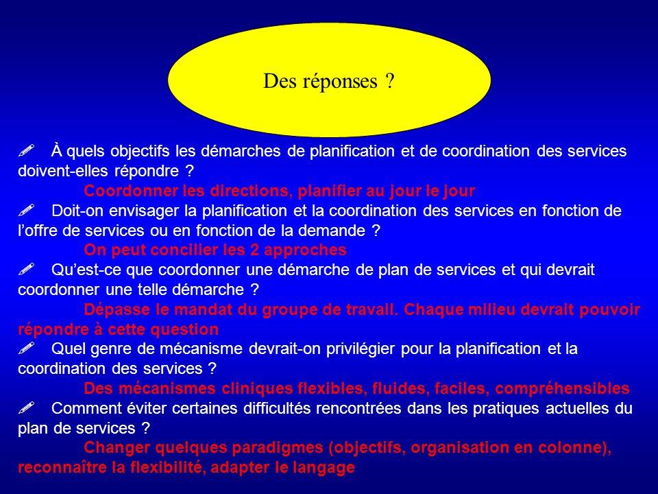 Des réponses ! À quels objectifs les démarches de planification et de coordination des services doivent-elles répondre