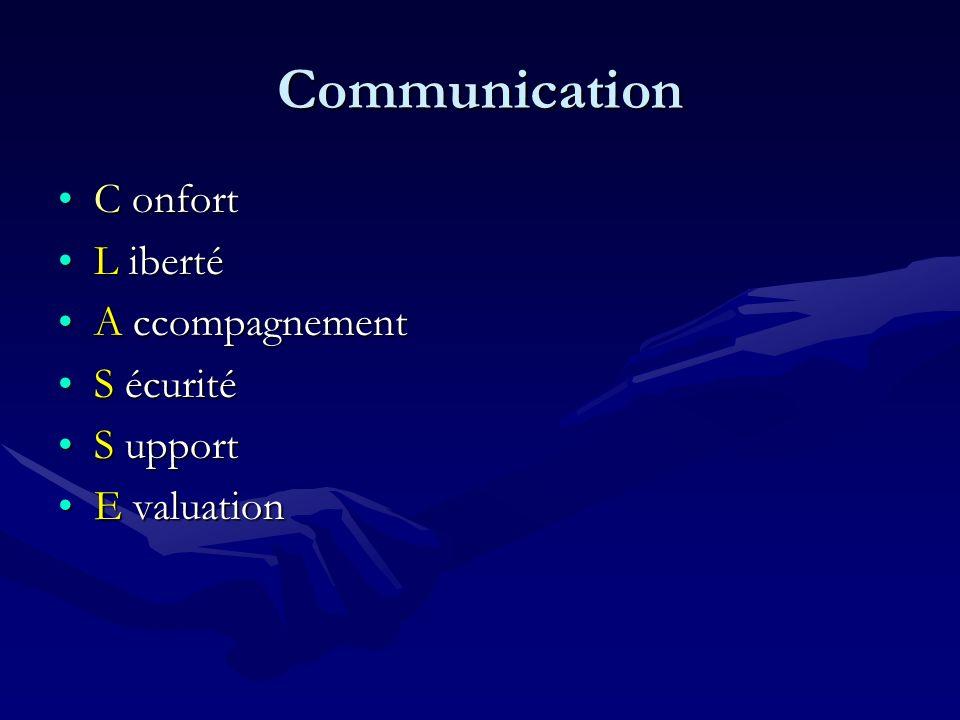 Communication C onfort L iberté A ccompagnement S écurité S upport