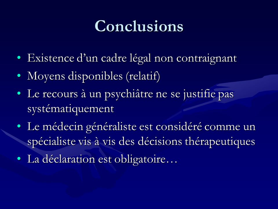 Conclusions Existence d'un cadre légal non contraignant