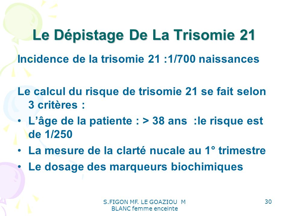 Le Dépistage De La Trisomie 21