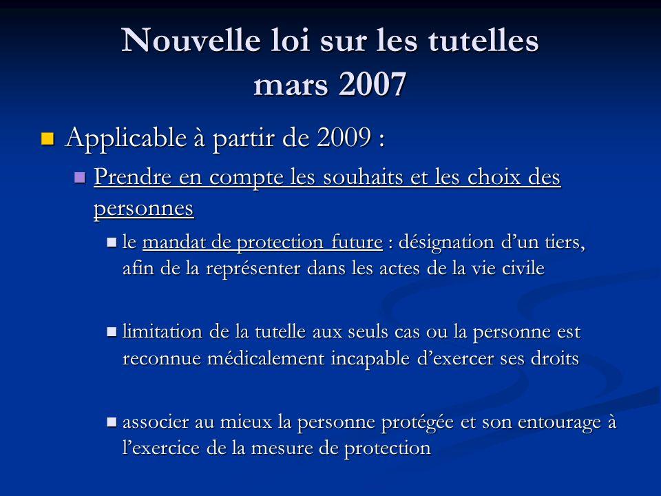 Nouvelle loi sur les tutelles mars 2007